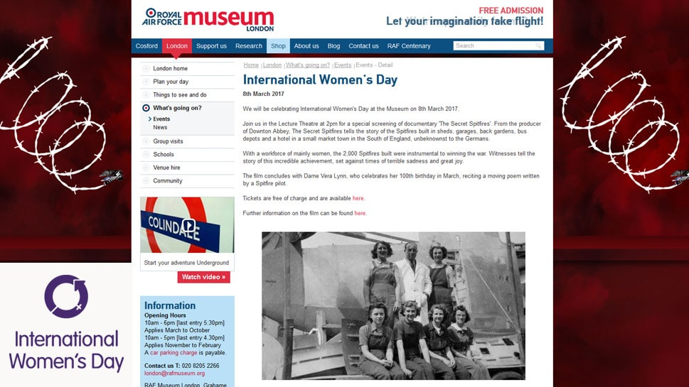 Secret Spitfires celebrates International Women's Day at RAF Museum